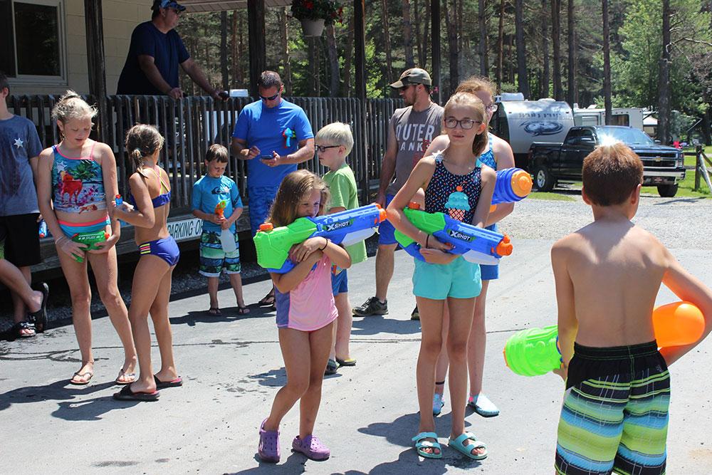 Children Ready For Squirt Gun Shoot Out